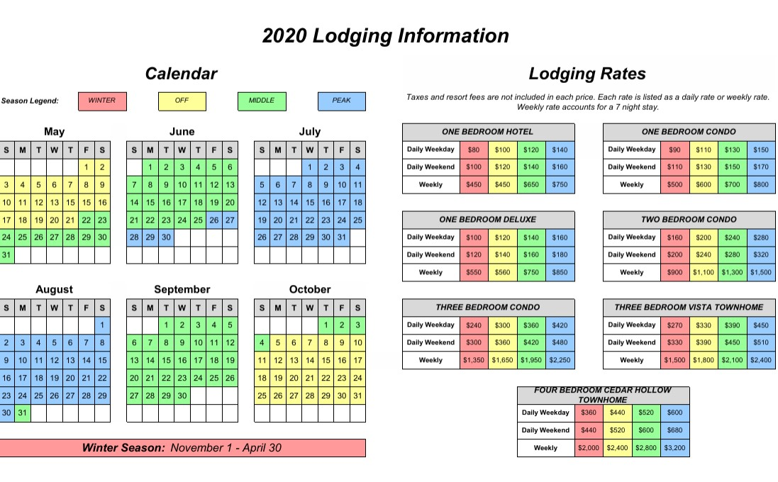 2020 Lodging Pricing